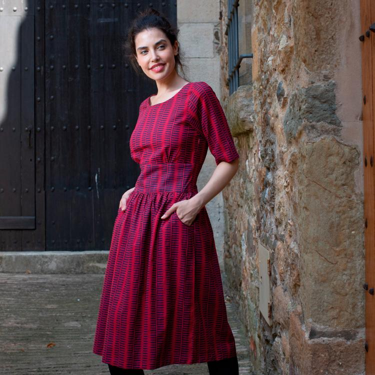 -vestido CLARA- Kanji rojo
